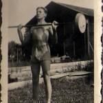 Hilding Mickelsson med skivstång. Troligt 1938.