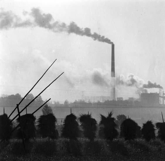 M 13 072: Huvudnäringarna i Hälsingland jordbruket och industrin. Här en bild från Marmaverkens sulfatfabrik. Foto före 1957. Foto Hilding Mickelsson