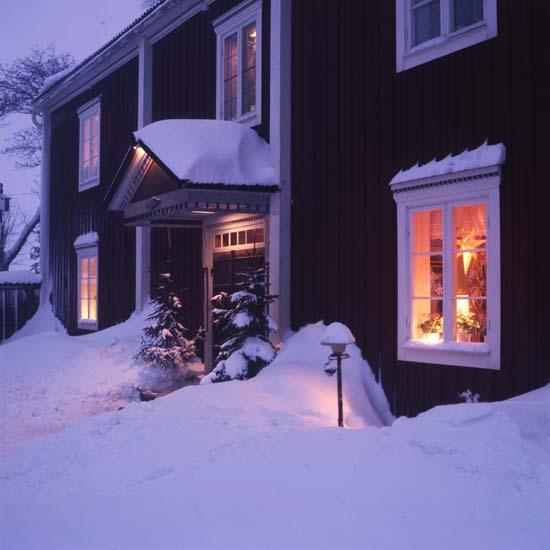 """M 58 211: """"Kväll i Sunnanåker, Glösbo, januari 1977"""".Foto: Hilding Mickelsson"""