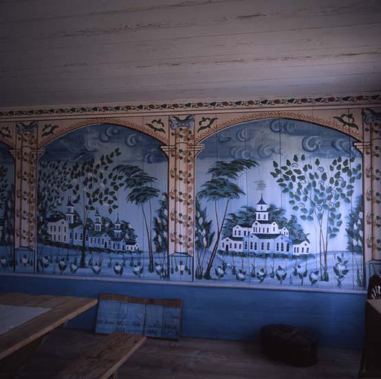 """M 28 591: JON-LARS, Långhed, Alfta"""" Exklusivt turkosblå målningar och franska tapeter"""" Ur Världsarvet Hälsingegårdar. Foto: Hilding Mickelsson"""