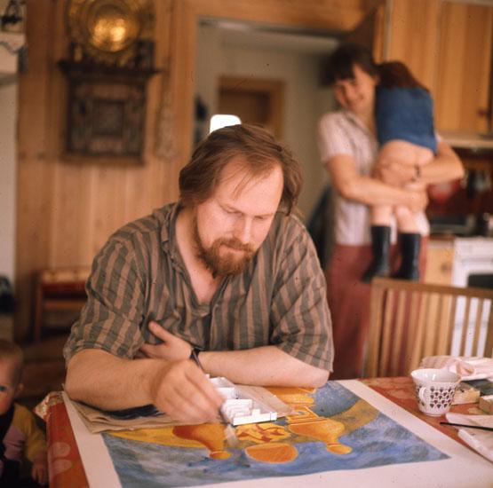 M 23936 Konstnären Mårten Andersson, Freluga, Bollnäs, Hälsingland. Foto: Hilding Mickelsson