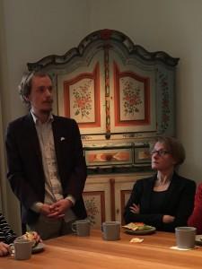 Joel Bergroth, museets digitala samordnare, berättade bland annat om hur Hilding Mickelsson fotografier nu är sökbara på nätet. Foto: Anna Hildingson Edling